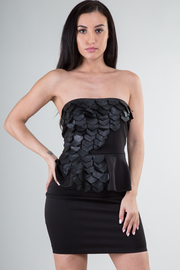 Strapless Gills Cut Out Peplum Solid Mini Dress