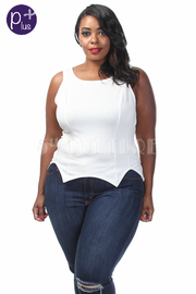 Plus Size Assymetrical Trim Sleeveless Top
