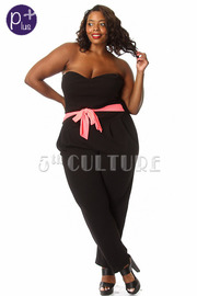 Plus Size Sweetheart Strapless Solid Jumpsuit