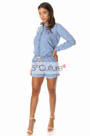 Long Sleeve Cotton Button Up Draw String Romper