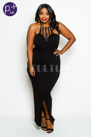 Plus Size Halter Top Lace Inset Slit Maxi Dress