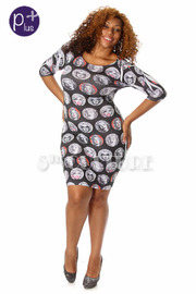 Plus Size Marylin Monroe Multi Face Print Bodycon Dress