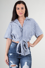 Striped Short Sleeve Front Tie Top