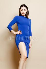 Solid Side Slit Knee Length Dress