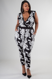 Plus Size Contrast Baroque Jumpsuit