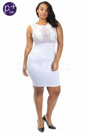 Plus Size Mesh Crochet Inset  Bodycon Dress