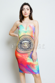 Medusa Tie Dye Sweetheart Knee Length Dress