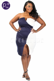 Plus SizeTwo Tone Slit Fitted Dress