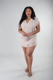 Plus Size Pleated Tunic Dress w/ Waist Chain
