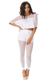 Fish Net Short Sleeve Crop Top & Jogger Pants Set