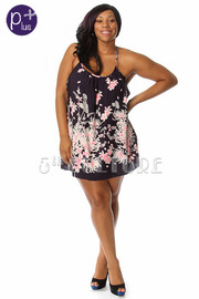 Plus Size Floral Print Hem Tunic Dress