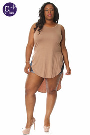 Plus Size Sleeveless Long Back Top