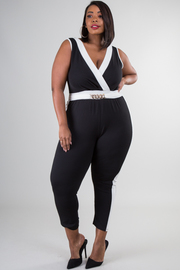 Plus Size Solid V-Neck Jumpsuit