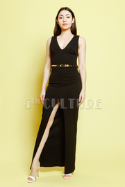 Mesh Back V-Neck Sleeveless Sexy Front Slit Maxi Dress