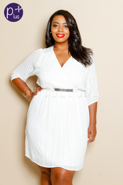 Plus Size All Over Striped Pattern V-Neck Dress w/ Waist Belt