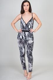 Leaf Print V-Neck Jumpsuit
