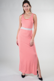 Key Hole Back Striped Mesh Inset Maxi Dress