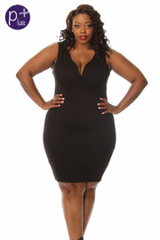 Plus Size Sleeveless Knee Length Dress