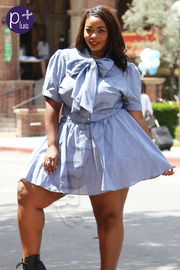 Plus Size Chic Front Bowed Crop Top & Skater Skirt Set