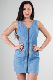 Zip Up Sleeveless Denim  Dress