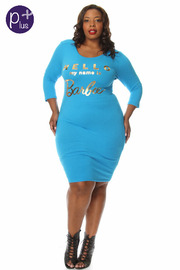 Plus Size Hello My Name Is Barbie Cut Out Back Dress