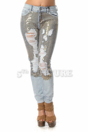 Ripped Sequin Skinnys