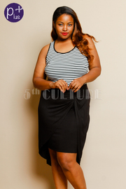 Plus Size Striped Top High Low Tank Dress