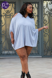 Plus Size Cut Out Shoulder Draped Mini Dress