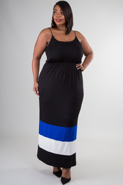Plus Size Colorblock Stripe Maxi Dress