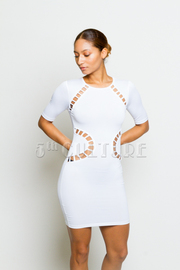 Cut Out Solid Short Sleeve Mini Dress