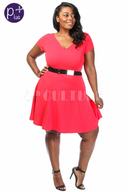 Plus Size Solid Short Sleeve A-Line Dress