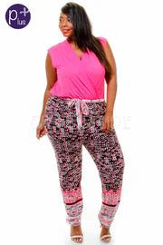 Plus Size Sleeveless Multi Color Print V-Neck Jumpsuit