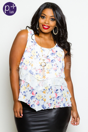 Floral Print Tiered Sleeveless Top