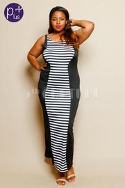 Plus Size Striped Sleeveless Panel Maxi Dress