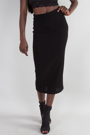 Solid High Waist Midi Skirt