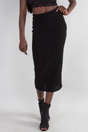 Solid High Waist Midi Skirt