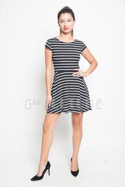 Short Sleeve Striped A-Line Dress