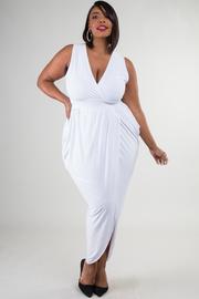 Plus Size Solid Sleeveless Tulip Dress