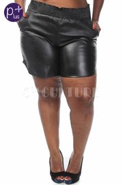 Plus Size Faux Leather Shorts