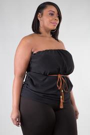 Peach Skin Dress with Tie Belt