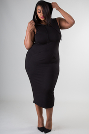 Plus Size Solid Hooded Midi Dress