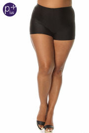 Plus Size Solid Nylon Shorts