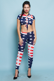 Patriotic Front Tie Crop Top & Leggings Set