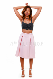 Pleated Quilted Knee Length Skirt