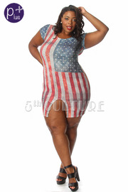 Plus Size Dusty Flag Front Slit Dress