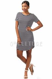 Short Sleeve Striped Tunic Dress