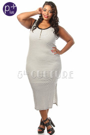 Plus Size Sleeveless Striped Midi Dress
