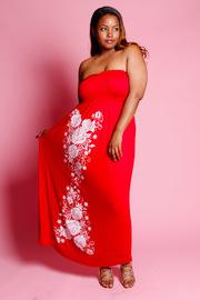 Plus Size Rose Tube Top Maxi Dress