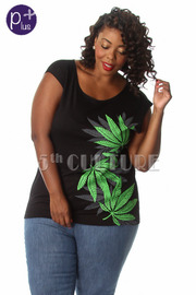 Plus Size Side Weed Print Sleeveless Top