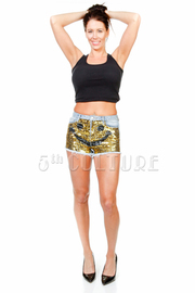 HIgh Waist Happy Sequin Denim Shorts